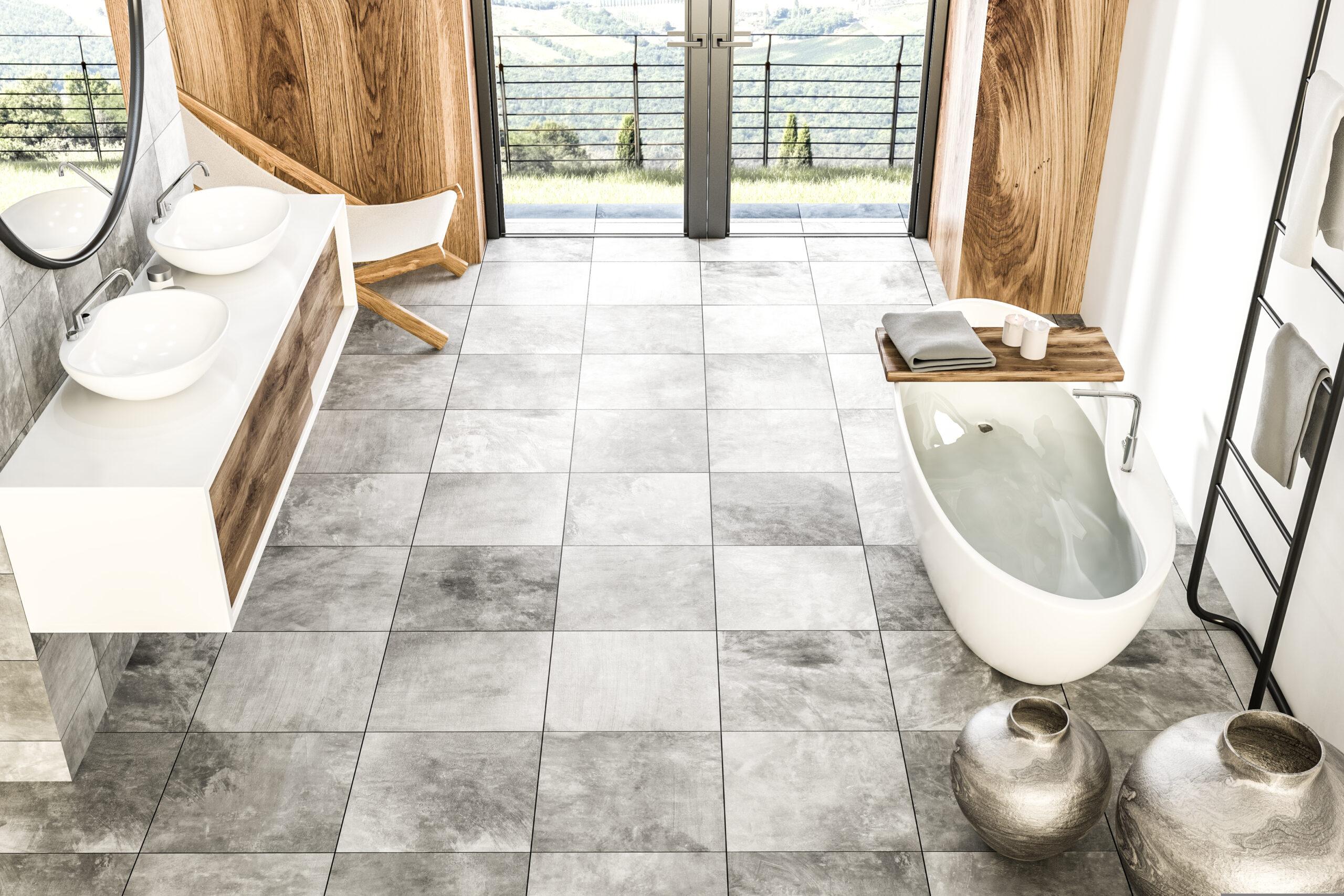 dekorativt-baderom-grå-marmorfliser-treverk-badekar-to-servanter